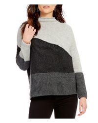 French Connection | Gray Patchwork Tonal Mock Neck Sweater | Lyst