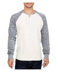 Lucky Brand | Gray Grey Label Long-sleeve Color Block Knit Henley for Men | Lyst