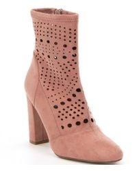 Steve Madden | Pink Ennie Suede Cut-out Block Heel Mid-calf Booties | Lyst