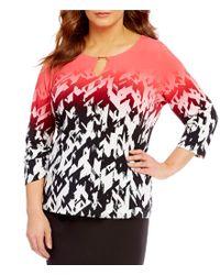Calvin Klein | Multicolor Plus Matte Jersey Printed 3/4 Sleeve Top | Lyst