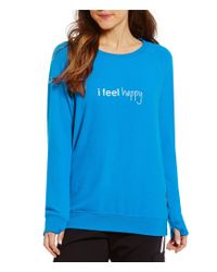 Peace Love World | Blue Crew Neck Long Sleeve Top | Lyst