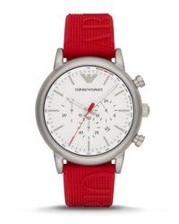 Emporio Armani   Red Luigi Chronograph & Date Logo Silicone-strap Watch   Lyst