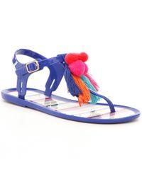 kate spade new york | Blue Yellowstone Tasseled Pom Pom Jelly Sandals | Lyst
