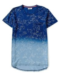 William Rast   Blue Fade Elongated Bird Print Tee for Men   Lyst