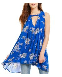 Free People | Blue Snap Out Of It Tree Crew Neck Sleeveless Printed Swing Tunic | Lyst