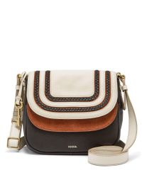 Fossil | Black Peyton Braided Double-flap Cross-body Bag | Lyst