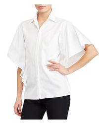 Lauren by Ralph Lauren | White Flutter-sleeve Cotton Shirt | Lyst