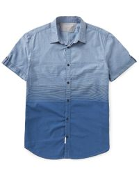 Calvin Klein | Blue Jeans Short-sleeve Ombre Placement Print Shirt for Men | Lyst