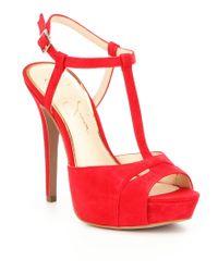 Jessica Simpson   Red Barretta Suede T-strap Ankle Strap Platform Dress Sandals   Lyst