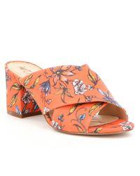 Sam Edelman | Orange Stanley Botanical Garden Twill Block Heel Slide Sandals | Lyst