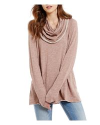 Free People | Pink Beach Cotton Cowl Neck Pullover Sweater | Lyst