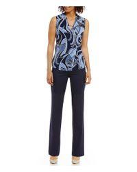 Jones New York - Blue Washable Suiting Sydney Classic Straight-leg Pants - Lyst