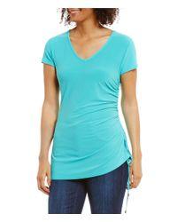 Jones New York | Blue V-neck Ruched Side-tie Asymmetric Hem Knit Tee | Lyst
