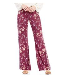 Billabong | Red Turn To Me Floral-printed Woven Smocked Wide-leg Pants | Lyst