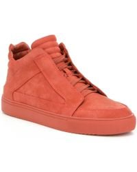 Steve Madden Red Men ́s Defstar Nubuck Lace Up High Top Sneaker for men