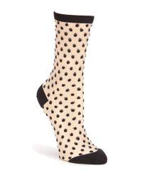 kate spade new york | Black Dotted Sheer Crew Trouser Socks | Lyst