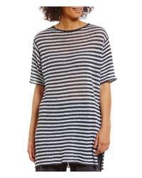 Eileen Fisher | White Bateau Neck Short Sleeve Tunic | Lyst