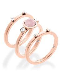 Michael Kors   Pink Easy Opulence Rose Quartz Stacked Ring Set   Lyst