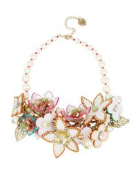 Betsey Johnson   Multicolor Flower & Faux-pearl Statement Necklace   Lyst