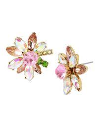 Betsey Johnson | Metallic Mixed-stone Flower Stud Earrings | Lyst
