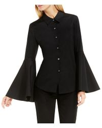 Vince Camuto | Black Bell Sleeve Button Down Collared Shirt | Lyst