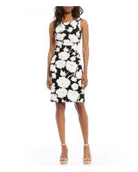 Ivanka Trump | Black Floral Print Scuba Crepe Sunburst Pleated Zipper-trim Sheath Dress | Lyst