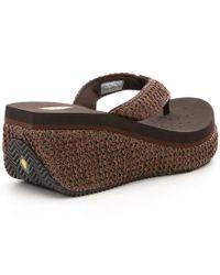 Volatile - Brown Zadie Raffia Wedge Sandals - Lyst