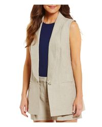 MICHAEL Michael Kors | Multicolor Washed Linen Shawl Collar Vest | Lyst