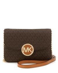 MICHAEL Michael Kors | Brown Fulton Signature Flap Cross-body Bag | Lyst