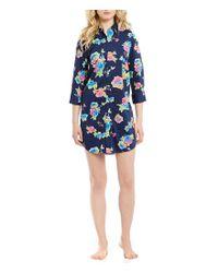 Lauren by Ralph Lauren   Blue His Shirt Floral Lawn Sleepshirt   Lyst