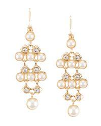 Anne Klein | Metallic Faux-pearl & Crystal Chandelier Earrings | Lyst