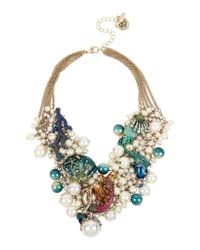 Betsey Johnson - Multicolor Mermaid & Sea Shell Faux-pearl & Mesh Statement Necklace - Lyst