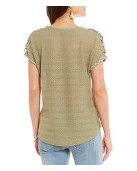 Miss Me - Green Macrame Shoulder V-neck Top - Lyst
