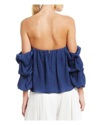 Gianni Bini - Blue Fan Fav Becca Off The Shoulder Gathered Sleeve Blouse - Lyst