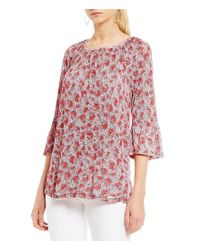 MICHAEL Michael Kors | Pink Augusta Floral Print Knit Jersey Gathered Bell Sleeve Peasant Top | Lyst