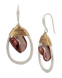 Robert Lee Morris - Metallic Wire-wrapped Mother-of-pearl Orbital Drop Earrings - Lyst