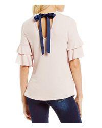 Blu Pepper - Pink Tiered Ruffle Sleeve Tie Back Knit Top - Lyst