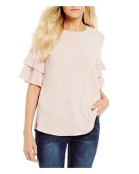 Blu Pepper | Pink Tiered Ruffle Sleeve Tie Back Knit Top | Lyst