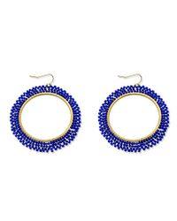 Panacea - Blue Beaded Hoop Earrings - Lyst