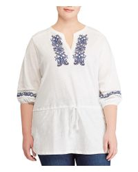 Lauren by Ralph Lauren - White Plus Size Embroidered Cotton Top - Lyst