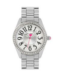 Betsey Johnson - Metallic Silver Stainless Steel Crystal Bezel Analog Watch - Lyst