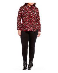Lauren by Ralph Lauren - Red Plus Crinkled Cotton Floral Shirt - Lyst