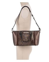 Brahmin - Brown Cosimo Collection Mini Asher Crocodile-embossed Tasseled Tote - Lyst