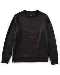 Guess - Black Long-sleeve Moon Textured Triangle Logo Crew Pullover for Men - Lyst