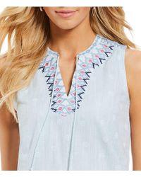 Joules - Pink Oriella Embroidered Neckline Sleeveless Dotted Tassel Dress - Lyst