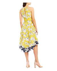 Eliza J - Yellow Floral Print Two Tone Halter Dress - Lyst