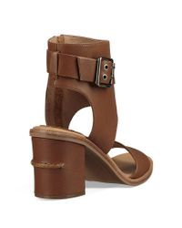 Ugg - Brown Claudette Buckle Detail Side Zip Block Heel Sandals - Lyst
