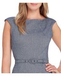 Tahari - Blue Petite Size Stretch Twill Cap Sleeve Belted Sheath Dress - Lyst