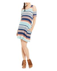 Rossmore. - Blue By Ppla Louise Horizontal-stripe Cold Shoulder Swing Dress - Lyst