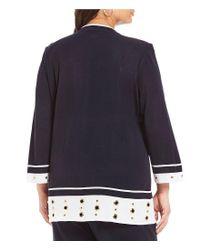 Ming Wang - Blue Plus Mandarin Collar Grommet Trim Jacket - Lyst